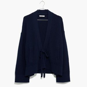 Madewell Tie Front Cardigan Sweater Navy Blue XL